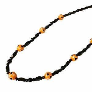 70's Vintage Beaded Orange & Black Halloween Fall Colored Beads Necklace in EUC